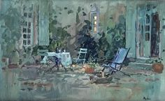 "Susan Ryder (Born, 1944 in England) ""Courtyard chairs, Feraillou"