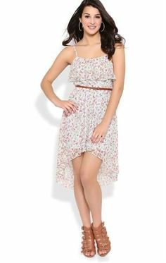 Deb Shops Ditsy Floral Lace High Low Dress with Ruffle Neckline $26.25