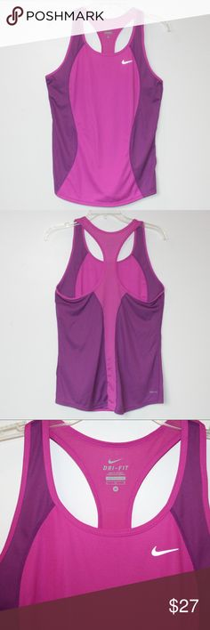 """Nike Dri-Fit Workout Racer-back Tank Orchid sz M Nike Dri-Fit Workout Racer-back Tank Top. Size Medium.  Colors: Vivid Orchid + Raspberry Pink, with white Nike swoosh.  17"""" chest. 26"""" length.  100% polyester. Lightweight, cool, stylish. Dark orchid side panels with dark pink.  Worn only once! Excellent condition.  Bundle Up!  Offers always welcome. Nike Tops Tank Tops"""