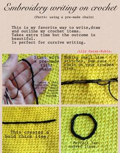 Part 4 of 4 . Embroidery on crochet. I forgot to mention, this embroidery technique works on any crochet stitch, from single crochet to triple crochet... Click to find my other pictorials.