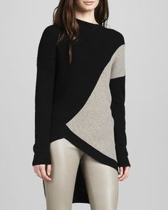 Colorblock Asymmetric Sweater at CUSP. I must have the leggings too.