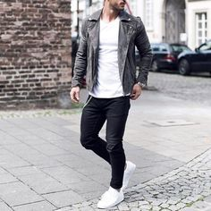 Gray leather jacket black pants and #whitesneakers by @magic_fox [ http://ift.tt/1f8LY65 ] #ad
