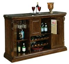 That's how the Howard Miller Niagara Bar Console is best described. Shop this one-of-a-kind home bar only here at Home Bars USA. Bar Hutch, Home Bar Cabinet, Liquor Cabinet, Wine Furniture, Home Bar Furniture, Furniture Ideas, Sunroom Furniture, Wooden Furniture, Furniture Makeover