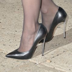 jessica chastain wearing black leather casadei blades outside 'the daily show' in nyc. #shoeporn