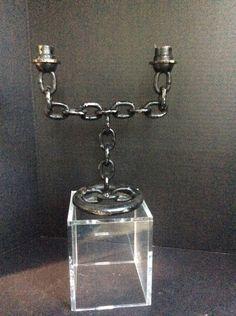 Welded Chain Candelabra by TollBranchFarm on Etsy, $14.00