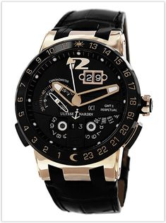 ba65bca40a6 Ulysse Nardin El Toro Men s Black Leather Strap Automatic Perpetual  Calendar Rose Gold Men s Watch price