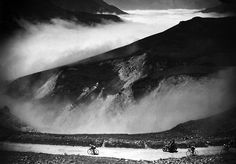 """""""Cyclist Raphael Geminiani descends the Col du Tourmalet in the French Pyrenees during the 18th stage of the Tour de France in July, 1952. (Photo by AFP/Getty Images)"""" #letour #TdF #cycling"""