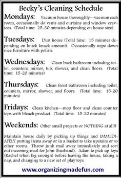 How to have a clean house in 15-20 min/day Sample schedule for 15-20 minutes a day of cleaning :: OrganizingMadeFun.com
