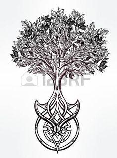 Tir� par la main romantique beau dessin de l'Arbre de vie. Vector illustration isol�. Conception ethnique, symbole tribal mystique pour votre usage. photo