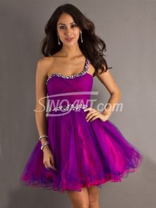 Buy Amazing One-shoulder Beadings Organza Prom Dress under 200-SinoAnt.com