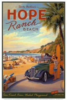 Vintage surf prints, Santa Monica, beach, sun, paradise, posters, typographyHope Ranch   Kerne Erickson   Art Print   poster print