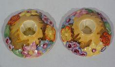 Rare CLARICE CLIFF MY GARDEN DELICIA pair CANDLESTICKS c 1936-38 MINT!!