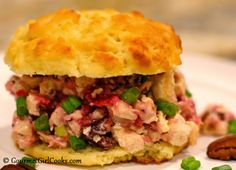Gourmet Girl Cooks: Cranberry-Pecan Chicken Salad Biscuit Sandwiches - Low Carb