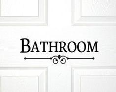 Bathroom Door Or Wall Decal Decorative Bath Room Sign Powder Guest Shower