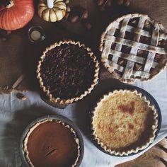 bake one of each: Apple, buttermilk, pumpkin & chocolate pecan pies. How To Make Pie, Autumn Aesthetic, Cupcakes, Sweet Tea, Pumpkin Spice, Food And Drink, Sweets, Seasons, Chocolate
