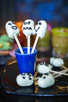 These little ghosts are simple to make and work brilliantly with any Halloween sponge cake. This recipe uses madeira loaf but why not try chocolate or lemon?