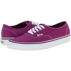 Vans Authentic Skate Shoes ($30) ❤ liked on Polyvore featuring shoes, sneakers, pink, genuine leather shoes, slim shoes, light weight shoes, leather trainers and pink leather shoes