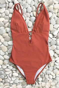 8e8f69176af Vibrant Orange Braided Strap One-Piece Swimsuit One Piece Swimwear