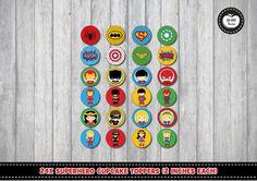 SUPERHERO CUPCAKE TOPPERS. Girl Superhero. Boy Superhero. Superhero Birthday. Party Favors. Supergirl. Wonder Woman. Batman. Spiderman.