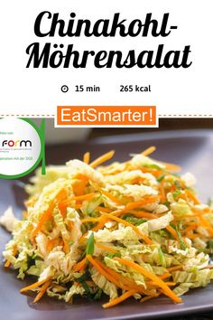 Chinakohl-Möhrensalat Chinese cabbage and carrot salad – smarter – calories: 265 kcal – time: 15 min. Salad Recipes Healthy Lunch, Salad Recipes For Dinner, Chicken Salad Recipes, Easy Salads, Easy Healthy Recipes, Easy Meals, Col China, Creamy Cucumber Salad, Chinese Cabbage