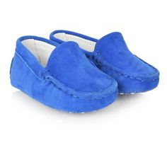Tods Blue Suede Baby Moccasins