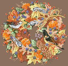 Beautiful Cross Stitch Patterns | Cross Stitch PDF Pattern Fall Wreath From Kooler Design Studio