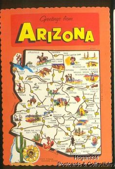Greetings From Arizona Map Postcard