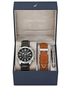 Nautica Watch Set, Men's Chronograph Interchangeable Black And Brown Leather…