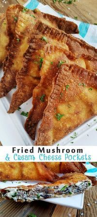 FRIED MUSHROOM & CREAM CHEESE POCKETS