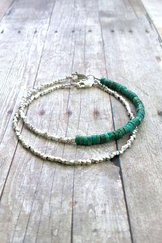 Genuine Turquoise Bracelet, Hill Tribe Silver Jewelry, Small Bead Minimalist Bracelet, Heishi Bead Bracelet