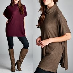 ARABELLE dolman sleeve tunic top - BURGUNDY Loose fit, short dolman sleeves, turtle neck tunic top. Has side slits. This tunic top is made with medium weight, brushed two-toned ribbed knit fabric that has a very soft fuzzy texture, drapes well and is very warm. This fabric has good stretch. Fabric 21% Polyester, 76% Rayon, 3% Spandex Made in U.S.A Tops
