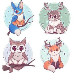 Mythical Animal Fusion Sticker and/or Prints 66 by NaomiLordArt on Etsy www.et - Mythical Animal Fusion Sticker […] Cute Animal Drawings Kawaii, Kawaii Art, Anime Kawaii, Cute Drawings, Kawaii Chibi, Kawaii Doodles, Anime Animals, Baby Animals, Cute Animals