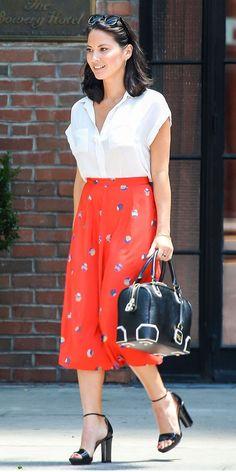 Olivia Munn Leaving her hotel in New York.  Armani Exchange Roll Sleeve Bib Blouse ($59) vintage skirt Wildfox sunglasses Alice + Olivia Lizard Embossed Leather Olivia Bag ($495) Lanvin heels