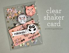8 July 2015 : Clear Shaker Card Video by Jennifer McGuire Ink Cute Cards, Diy Cards, Tarjetas Diy, Acetate Cards, Jennifer Mcguire Ink, Karten Diy, Card Making Techniques, Shaker Cards, Card Tutorials