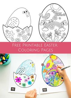 Cute free printable coloring pages to celebrate Easter and spring with the kids. Easter Art, Hoppy Easter, Easter Crafts, Easter Bunny, Easter Coloring Pages, Coloring Books, Easter Projects, Easter Ideas, Easter Printables