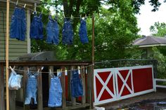 Overalls displayed for barnyard party. Also for kids who didn't bring a change of clothes to play in the mud.