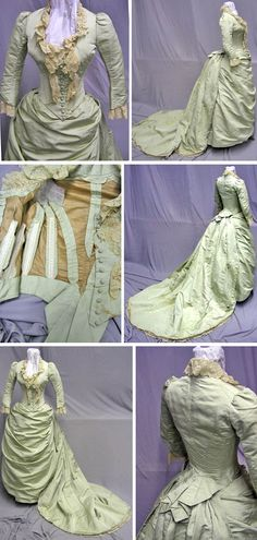 Ballgown, ca. 1880s. Mint green silk faille and lace lined with brown cotton. svpmeow1/ebay and Extant Gowns