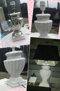 Zilveren lamp van de Action bewerkt met muurvuller. 2 lagen muurvuller. Home made.. #gerdapaas