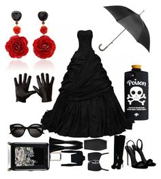 """Black widow"" by vivalasmariposa on Polyvore featuring Ted Baker, Faith Connexion, Roland Mouret, Giuseppe Zanotti, Totes and Bahina"