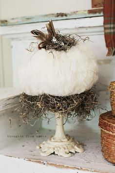 Thoughts from Alice: Rustic Fall Mantel Vignette - Faux Fur Embellished Fabric Pumpkins