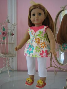 Cami Suntop, top, Sandals and Capris made to fit 18 inch American Girl doll via Etsy