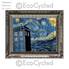 New to EcoCycled on Etsy: British Police Box 4 Starry Night Time Travel on Vintage Upcycled Dictionary Art Print Book Art Print Recycled (10.00 USD)