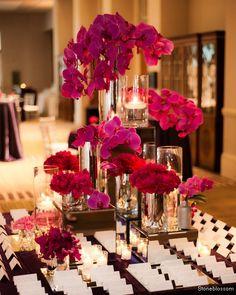 black, white and fuschia wedding centerpieces Decoration Buffet, Reception Decorations, Table Decorations, Orchid Centerpieces, Wedding Centerpieces, Table Centerpieces, Wedding Tables, Centrepieces, Centerpiece Ideas