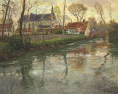 Frits Thaulow - A River Landscape with a Church...