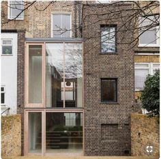 Gundry & Ducker adds sooty brick and glass extension to London house Brick Extension, Glass Extension, Extension Ideas, Glazed Brick, Grey Brick, London House, House Extensions, Modern House Design, Victorian Homes