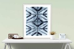 Kaeidoscope - Inspired by Shibori dying, this beautiful giclee print from my original watercolour painting is the perfect style for a modern boho pad, or scandi style room, and looks amazing with lots of timber, white, and grey. The soft bleeds and blends lend a textural feel to your walls.  ✖️ Title: Kaleidoscope ✖️ Media: Archival Giclee Print (Pigment Inks on gallery Cotton Rag heavy weight paper)  SIZES:  A5 - 14.8cm x 21cm (5.8 x 8.3)  A4 - 21cm x 29.7cm (8.3 x 11.7)  A3 - 29.7cm x…