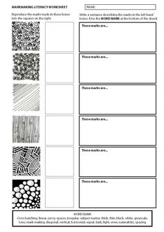 Markmaking literacy work sheet Probability Worksheets, Literacy Worksheets, Therapy Worksheets, Reading Comprehension Worksheets, Evolution Concept Map, Text Features Worksheet, Formal Elements Of Art, Art Analysis, Middle School Books