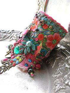 Monsoon, Gypsy Jangle, Bracelet, Bohemian Gypsy, Cuff, Vintage, Embroidery, Boho Jewelry❤️