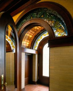 Frank Lloyd Wright, 1902 - Foyer of Susan Lawrence Dana House - Springfield, Illinois Totally love it. Organic Architecture, Amazing Architecture, Art And Architecture, Architecture Details, Historic Architecture, Pavilion Architecture, Residential Architecture, Contemporary Architecture, Frank Lloyd Wright Style