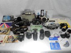 Vintage Camera and Lenses Box Set Plus Flash Attachments, Manuals And Parts #PolaroidKonicaCanon
